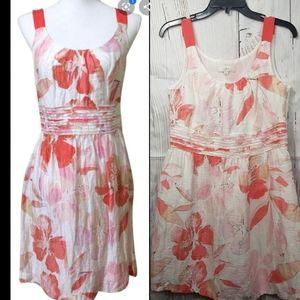 LOFT Linen Sleeveless Floral Dress